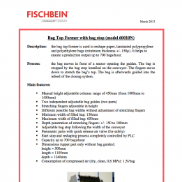 Fischbein brochure Bag Top Former 60010N